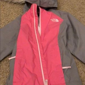 New condition girls north face rain jacket